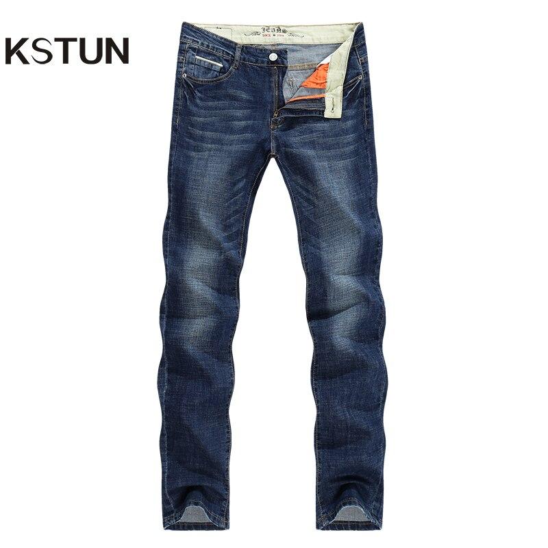 97fc10263273 KSTUN Men Jeans Famous Brand 2018 Slim Straight Business Casual Dark Blue  Thin Elasticity Cotton Denim Pants Trousers pantalon – Browse   Pick