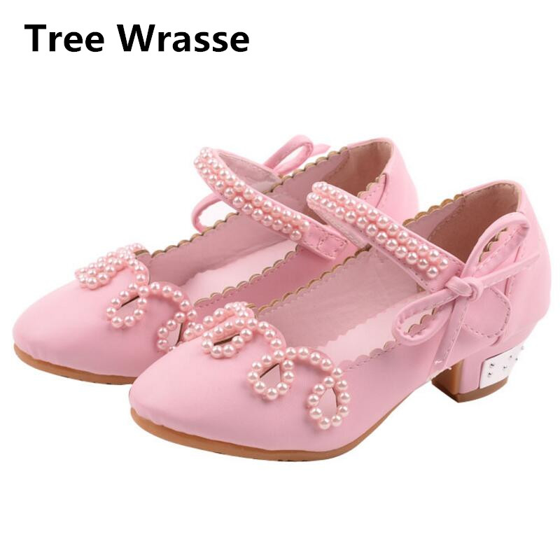 Children Leather Dress Shoes Girls Princess Sandals Summer Kids Pink White Gold Single Shoes For Girl Pearl Beaded Low Heels