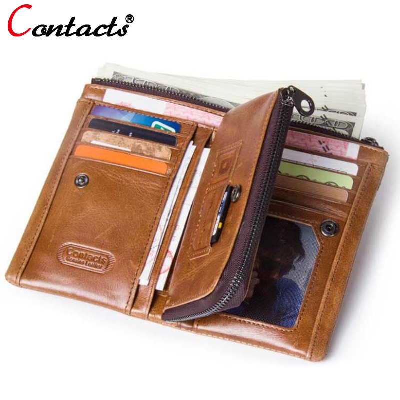 CONTACTS Men wallets genuine leather wallet men card holder leather wallet coin purse small wallet Money men clutch bags Walet
