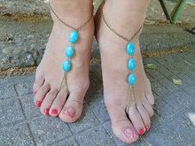 A partir de Tornozeleiras. sandálias Com Os Pés Descalços/tornozeleiras com turquesa. sapatos de praia. Boho Gypsy estilo. dança do ventre calçados .. T-pés (um par)