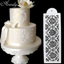 Aomily 3pcs/set Cake Stencil Damask Lace Border Birthday Cake Side Cupcake Wedding Party Sugar Craft Decoration Baking Tool