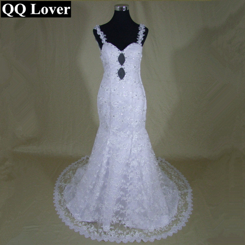 QQ Lover 2017 Latest See Through Back Pearls Beaded Mermaid Lace font b Wedding b font