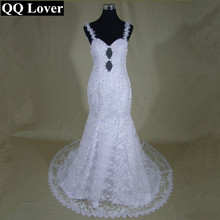 QQ Lover 2017 Latest See Through Back Pearls Beaded Mermaid Lace Wedding Dress Custom-made Vestido De Noiva Bridal Gowns