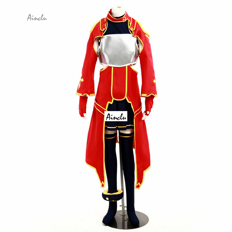 Ainclu Costume Sword Art Online Sirika Silica Red Version Halloween Cosplay Costume For kid costume and adult costume