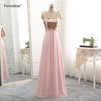 Favordear Prom Dress A Line Backless Rose Gold Sequin Chiffon Bridesmaid Gowns New Arrival