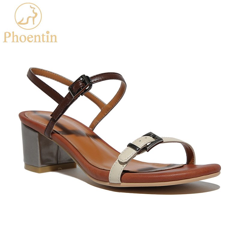 Phoentin ladies shoes and sandals 2018 mixed colors buckle strap sandals women narrow band adjustable square