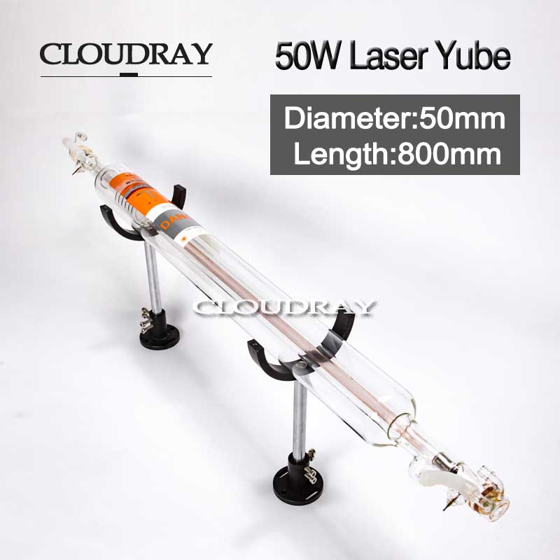Cloudray 50W Co2 Glass Laser Tube 800MM Diameter 50mm For CO2 Laser Engraving Cutting Machine 50w co2 glass laser tube 800mm for co2 laser engraving machine