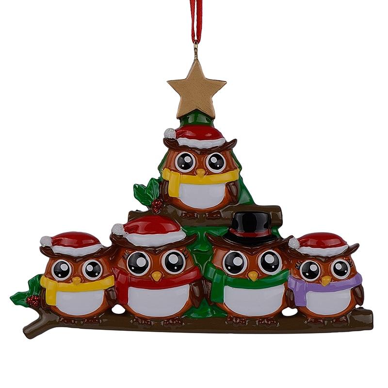 Sova rodina 5 polyresin lesklý osobní vánoční ozdoby se zlatou hvězdou zelený strom pro dekorativní řemesla