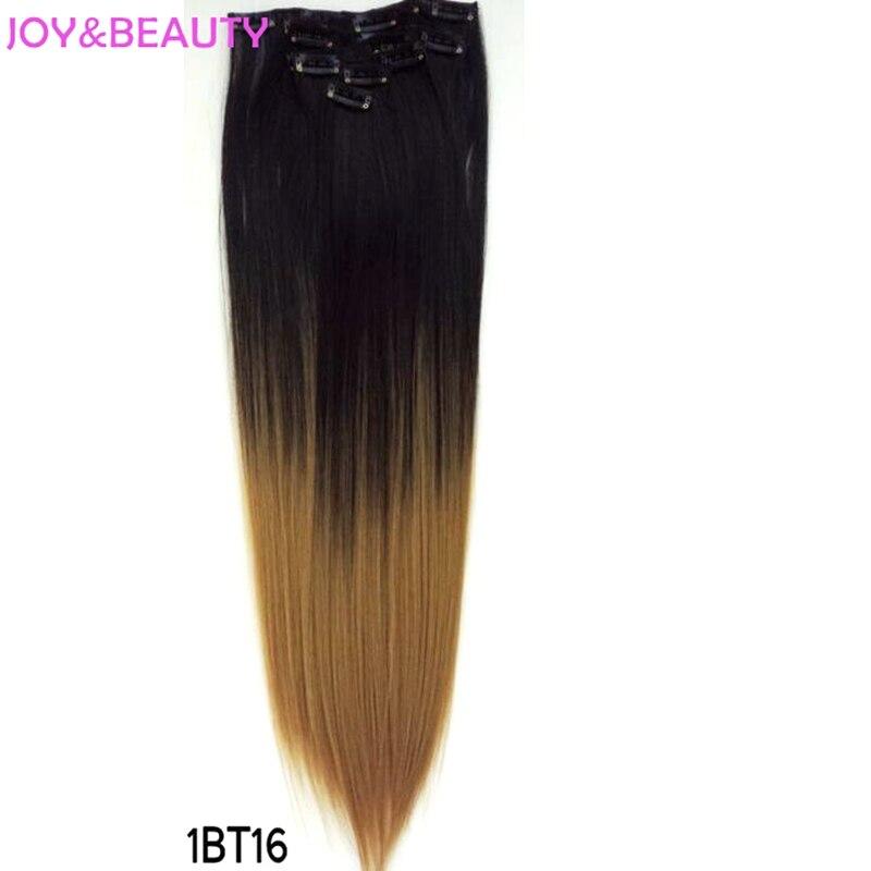 JOY & BEAUTY სინთეზური ორი ტონიანი სრულყოფილი თავით თმის მოგრძო სიგრძე 24 ცალი 7 ცალი / ნაკრები, 130 გ, გათბობის საწინააღმდეგო ბოჭკო გრძელი სწორი თმისთვის