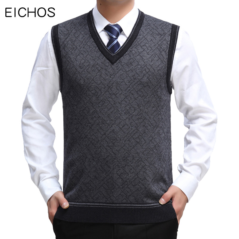 EICHOS Mens Sleeveless Pullover V Neck Business Casual Sweater Vest Men Computer Jacquard Cotton Male Sweater Vest