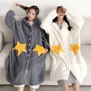 Image 2 - Robe de nuit femme, vêtements de nuit à manches longues, avec capuche en flanelle, vêtements de nuit princesse mignonne, en molleton, WZ619