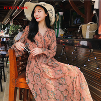 2018 New Women dress Flare Sleeve Print Chiffon V Neck Long Tail Dresses Gray Orange And Pink L0800