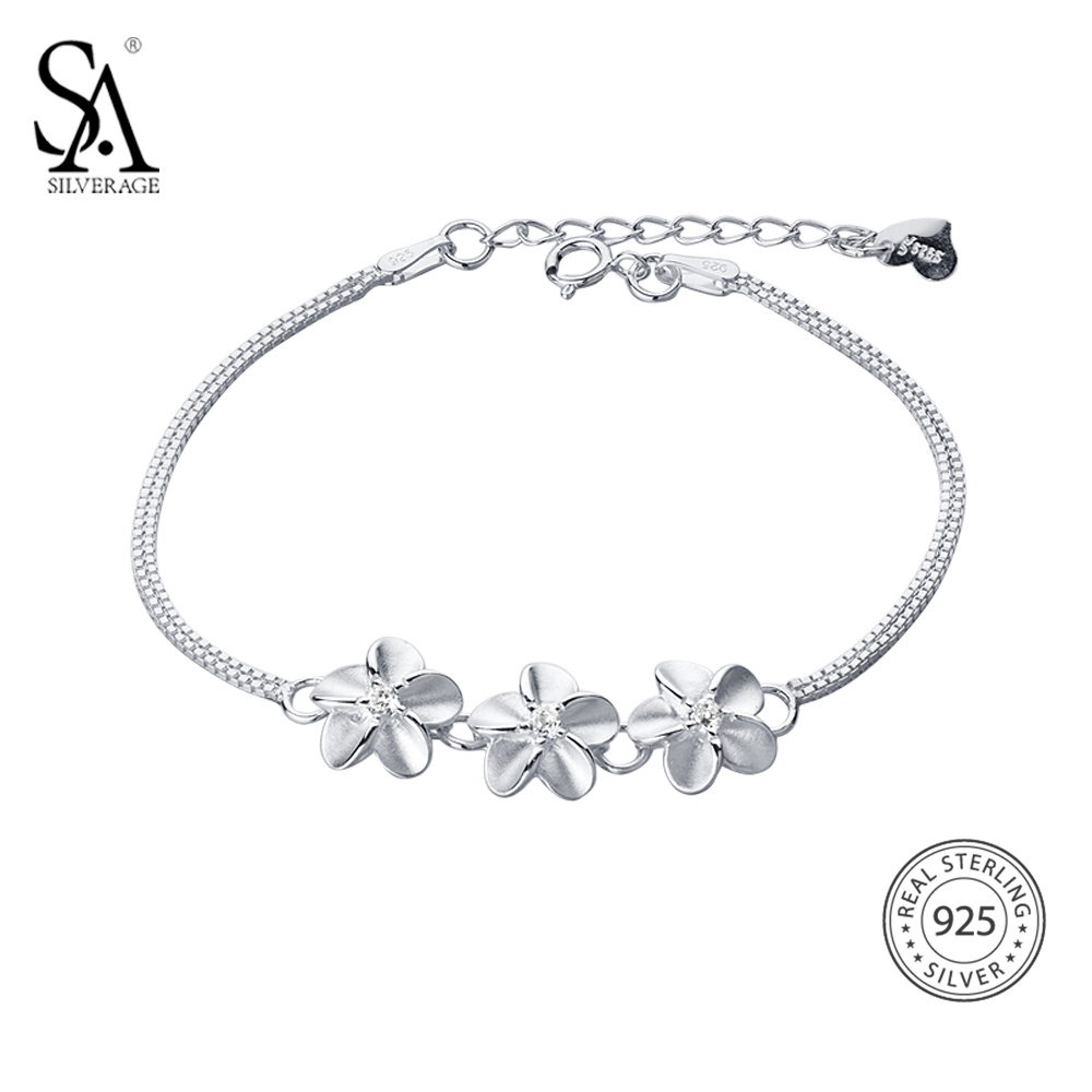 цена SA SILVERAGE Real 925 Sterling Silver Flowers Chain Link Bracelet for Women Fine Jewelry 925 Silver Charm Bracelets Bangles