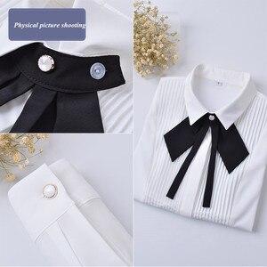 Image 5 - Neue Frühjahr Elegante Fliege Frauen Weißes Hemd OL Formale Dünne Lange Sleeve Chiffon Blusen Büro Damen Plus Größe arbeit Tragen Tops
