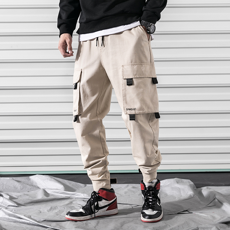 2019Spring Cargo Pants Men Cotton Comfortable Joggers Trousers Green Khaki Black Many Pockets Ankle Banded Man Casual Pants A906