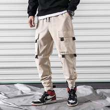2019Spring Cargo Pants Men Cotton Comfortable Joggers Trousers Green Khaki Black Many Pockets Ankle Banded Man Casual Pants A906(China)