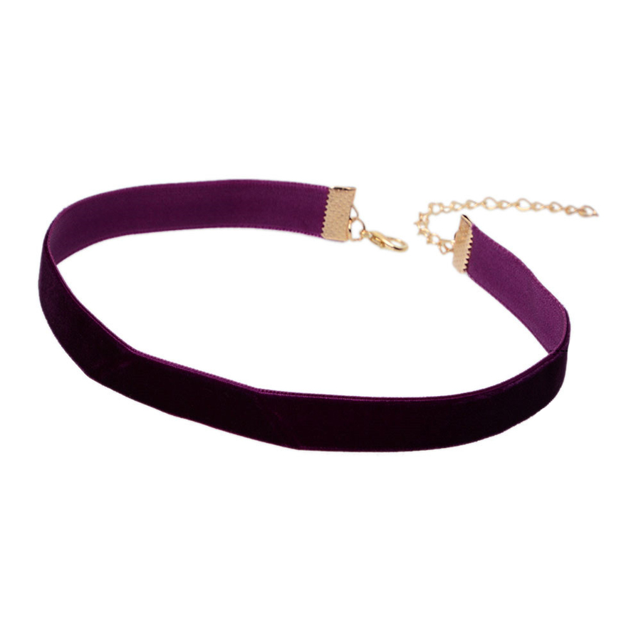 gothic retro elegant purple velvet choker necklace simple jewelry accessories handmade women. Black Bedroom Furniture Sets. Home Design Ideas