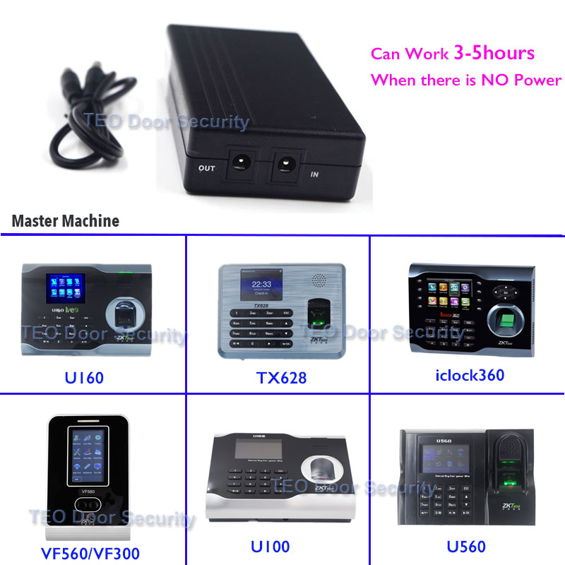 UPS for ZK Software U160 ZKTeco TX628 iclock360 VF360 5V Mini Fingerprint Time Attendance Battery for