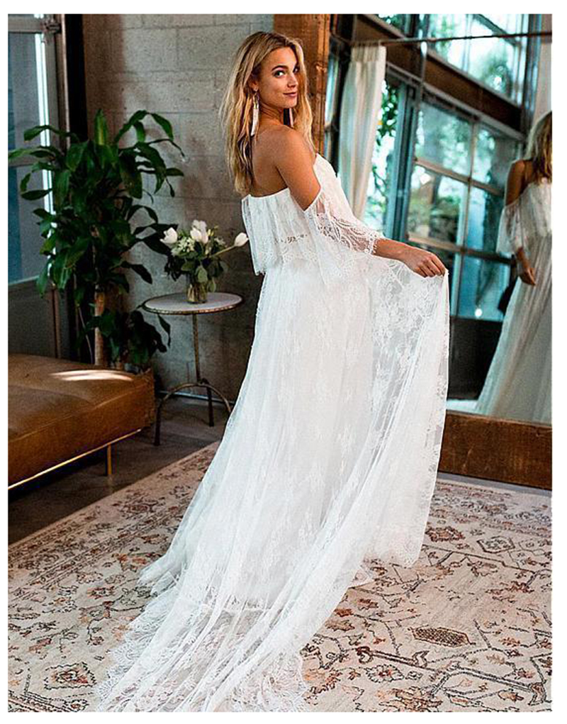 LORIE Wedding Dress Lace A Line Vintage Princess  Boho Wedding Gown White Ivory Bride Dress Flare Sleeves Beach Bride Dress 2019