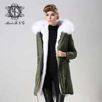 Free shipping ladies luxury long style parka with white faux fur lined coat army green womens warm us plus size jacket