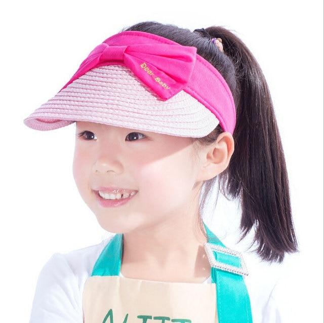 d63e0ac3471 Girls Summer Without Top Big Brim Visor Hats Child Kids Bowknot Design  Adjustable Outdoors Sun Protective Hat MZ5754