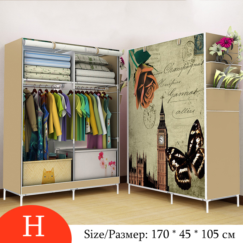 On Sale Minimalist Modern Non-woven Cloth Wardrobe Closet Folding Large Wardrobe DIY Reinforcement Clothing Storage Cabinet