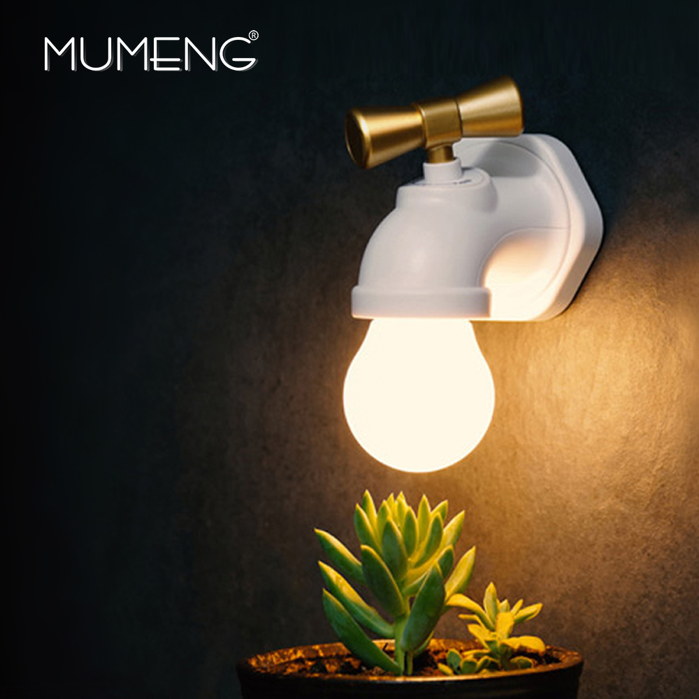 Mumeng LED Night Light Rechargeable Lamp USB Wall lamp Sound Control Nightlight Wirless Sticker Light Fixture Baby Lampara