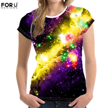 FORUDESIGNS 3D Galaxy Prints Women T-shirt Summer Short Sleeved Woman T Shirts Tee Tops For Teen Girl Fitness Clothes Ropa Mujer