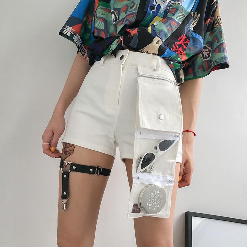 Ladies Women Summer Plain High Waist Belted Skinny Shorts Casual Pocket Hot Pant