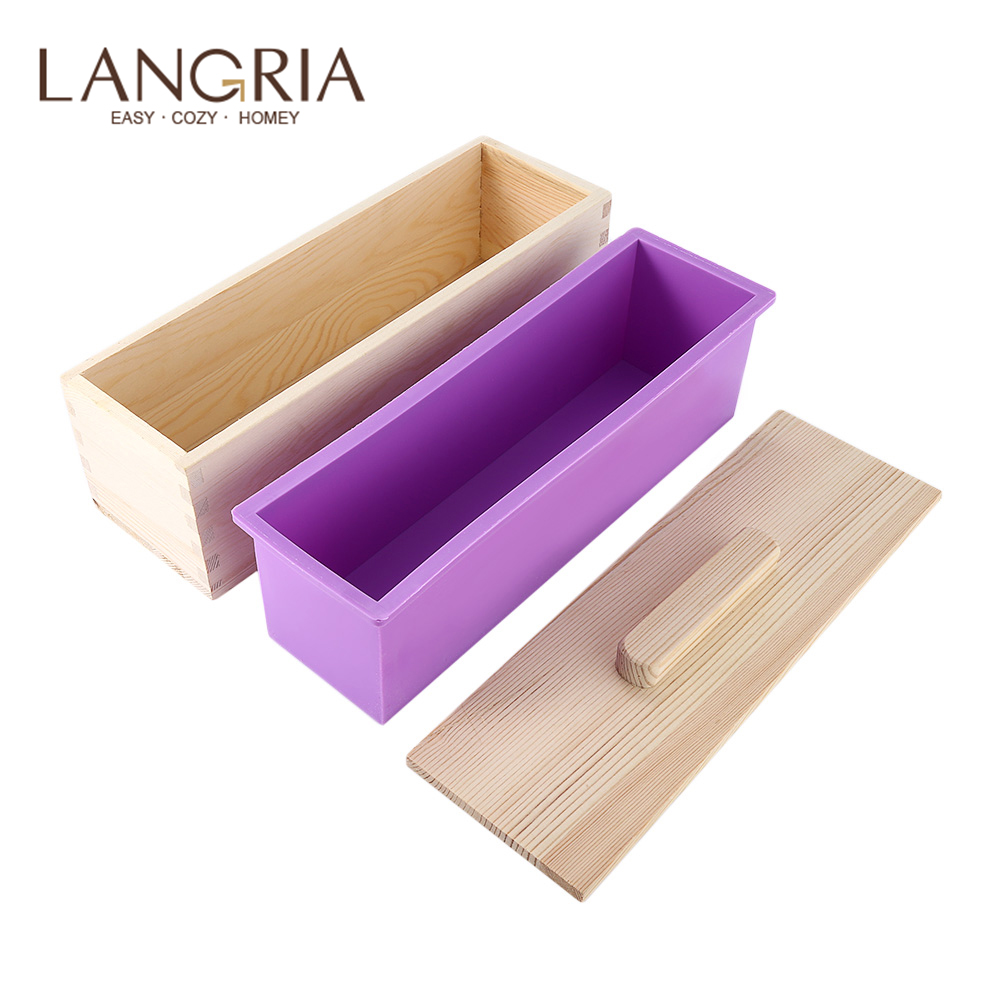 1200g/900g Soap Loaf Mold Wooden Box DIY Making Tool Rectangle Silicone Soap Moulds Wooden Box With Lid Eco-friendly