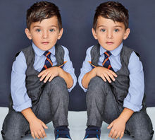 Kids Baby Boy s Cotton Shirt Pants Waistcoat Tie 4PCS Suit Outfits Sets Clothes