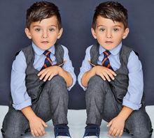 Kids Baby Boy's Cotton Shirt+Pants+Waistcoat+Tie 4PCS Suit Outfits Sets Clothes