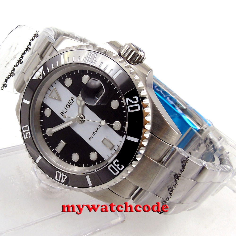 Bliger black white dial sapphire glass ceramic bezel automatic mens watch B140 цена и фото