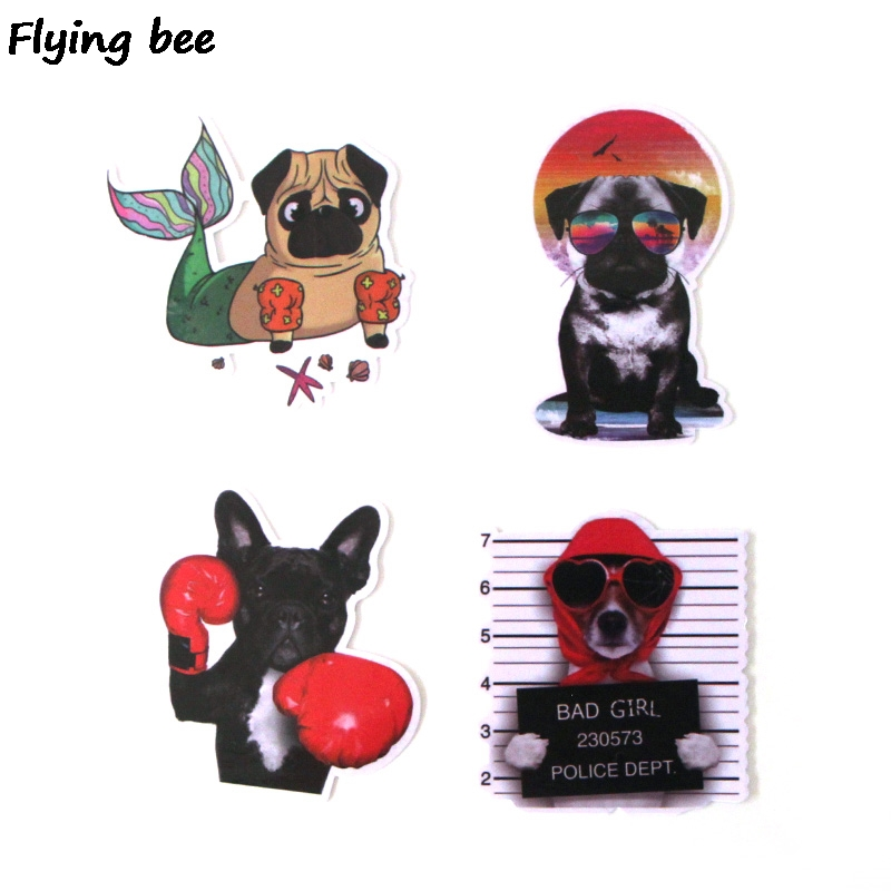Image 3 - Flyingbee 15Pcs Bulldog Funny Waterproof Sticker Scrapbooking for phone luggage laptop guitar Graffiti Decal Pet stickers X0282-in Stickers from Consumer Electronics