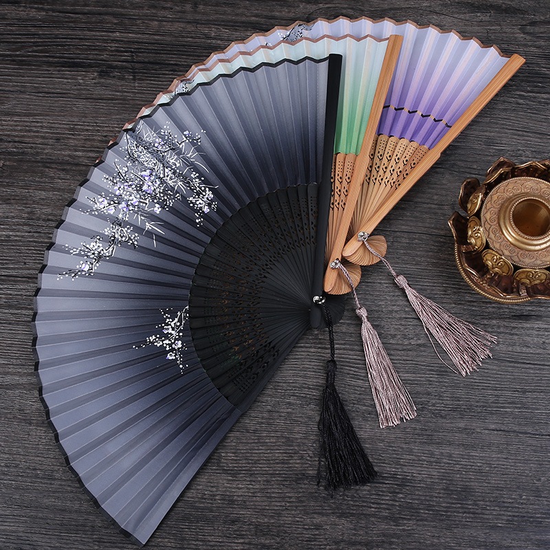 1pcs Vintage Chinese Spun Silk Flower Printing Hand Fan Folding Hollow Carved Hand Fan Event Party Supplies