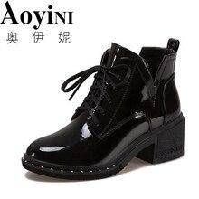 Новинка года; сезон весна-зима; женские туфли-лодочки; Высококачественная женская обувь на шнуровке в европейском стиле; ботинки из искусственной кожи на высоком каблуке; Быстрая