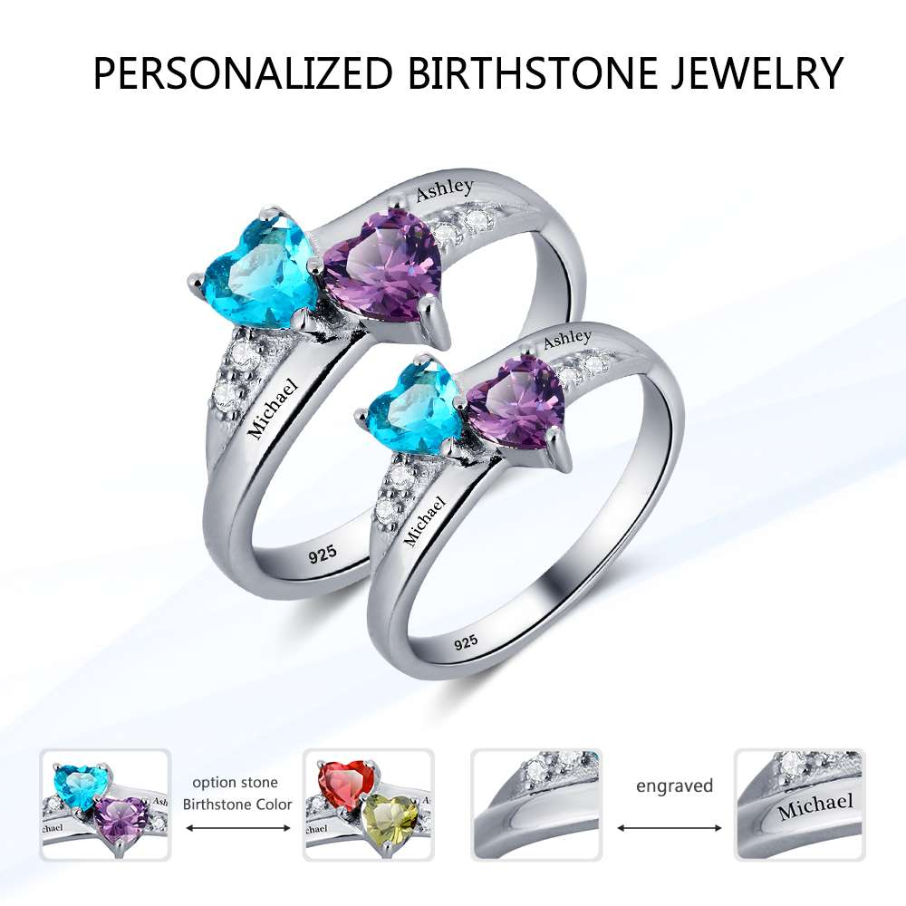 S Sterling Silver Engagement Rings For Women Birthstone Engrave Name Heart Wedding Ring Anniversary Gift (JewelOra RI101781)