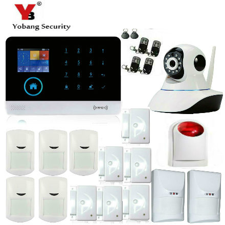 YobangSecurity Android IOS APP Gsm Wifi Home Alarm System Magnetic Door Senor Pet PIR Motion Detector Wireless Siren IP Camera kerui w2 wifi gsm home burglar security alarm system ios android app control used with ip camera pir detector door sensor