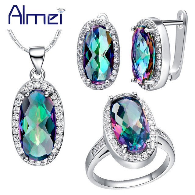 Almei 49% off Silver Women Jewelry Sets Wedding Necklace Pink Rhinestones Set CZ Diamond Bridal Jewellery 2017 Gifts Bijoux T482