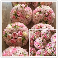 Top quality 14inch Diameter Wedding Kissing Balls Artificial Rose Decorative Flower Ball for Wedding Festival Decoration