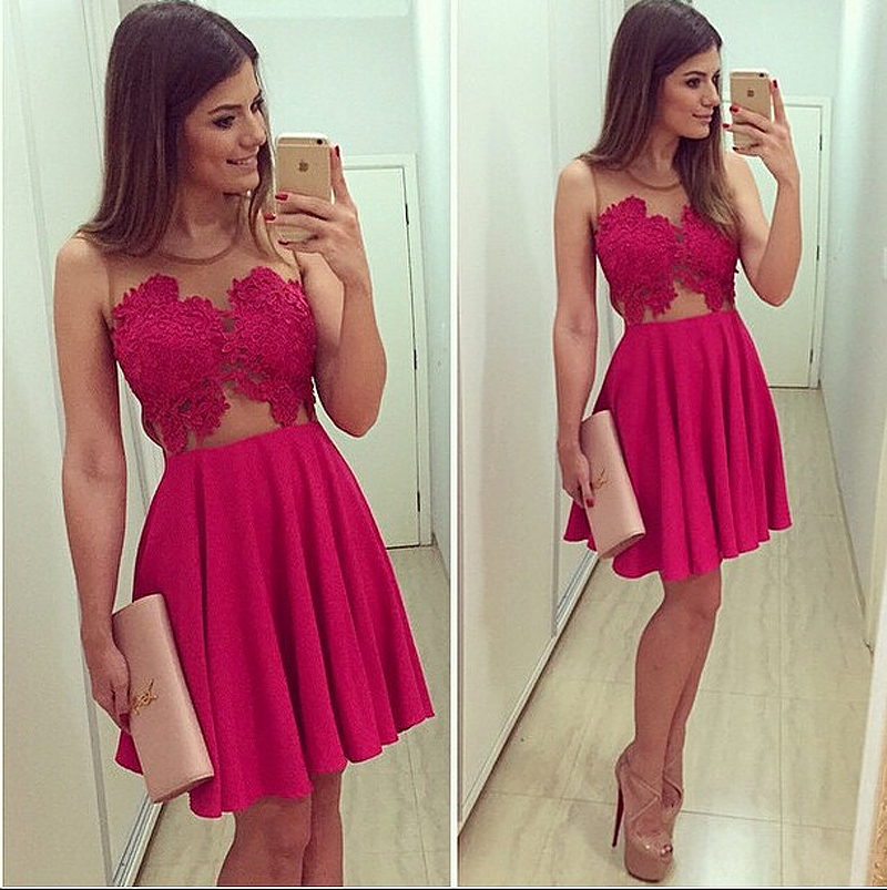 Amazing Rose Red Short Party   Dress   2016 vestidos de graduacion Homecoming Gowns with Sheer Straps   Cocktail     Dresses