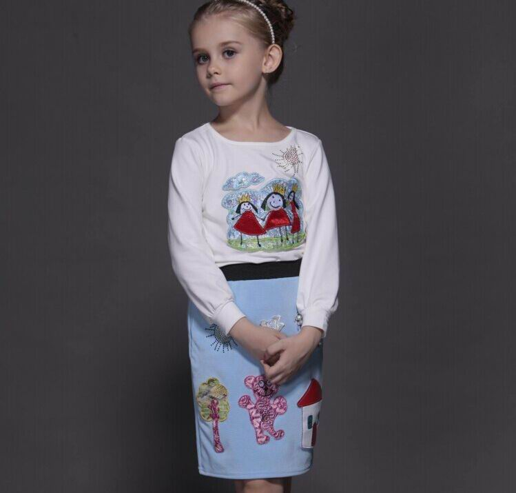 2016 Autumn Girl Sets Cartoon Long Sleeve T-shirts + Skirt Two Piece Fashion Outfits Children Clothing 3-10T ABC003 autumn new cartoon elephant printed long sleeve children sweater boy girl pullover top shirts sweatshirt clothing