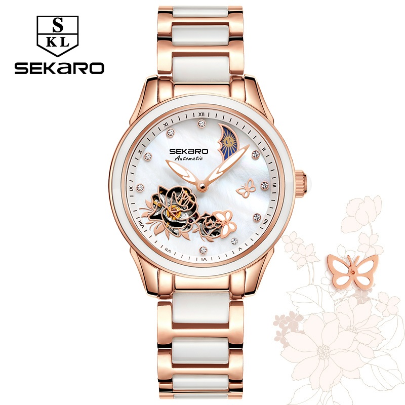 купить Sekaro Ceramic Women Watches Fashion Luxury Watch Automatic Mechanical Clock Sapphire Crystal Beauty Butterfly Watch For Female по цене 4365.44 рублей