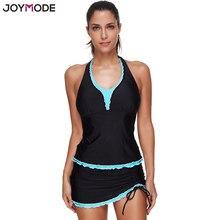 88285cdb52cdf JOYMODE черный качество двойка купальный костюм юбка для женщин Push Up  танкини платье Пляжная одежда комплект Холтер Push Up ва.