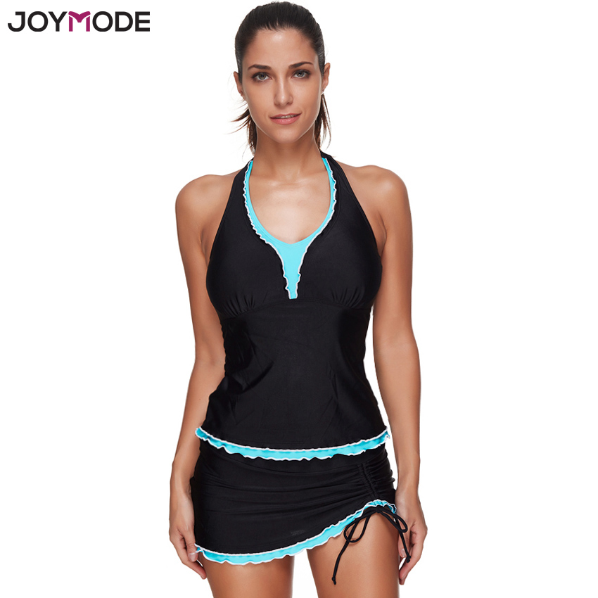 JOYMODE Black Quality Two Pieces Swimsuit Swimwear Skirt Women Push Up Tankini Dress Beach Wear Set Halter Push Up Bathing Suit two tone backless skirted tankini set