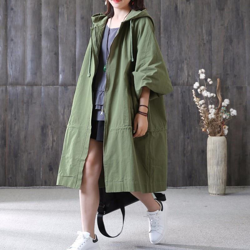 À Capuchon Cordon Manteau Femmes Coupe Poches Grandes Manches Fermeture green Black ewq Pleine Automne Taille 2018 Grande vent Qe319 Glissière Nouveau Mode qSCXFwxwI