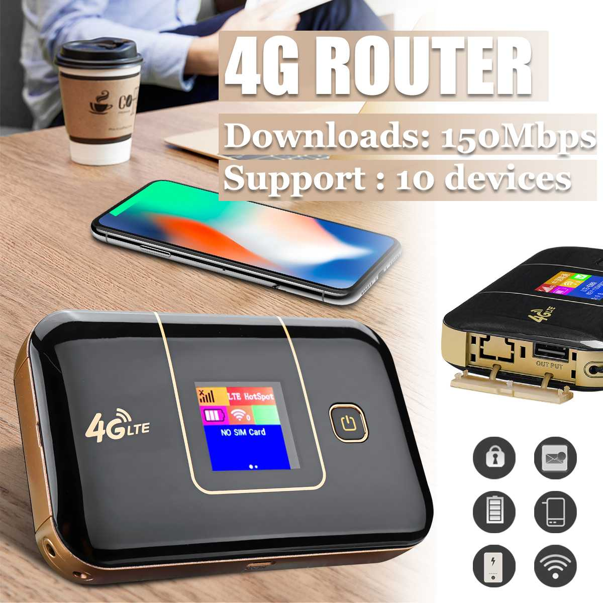 Portable 4G LTE Mobile WiFi Router Wireless Secure Hotspot 150Mbps High Speed Battery Charger Support SIM TF Card Slot