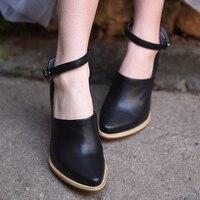 Artmu Fashion Women Shoes Pumps 8 cm High Heels Cowhide Woman Pumps Shoes Female Pointed Toe Hasp Single Mary Janes Women Shoes