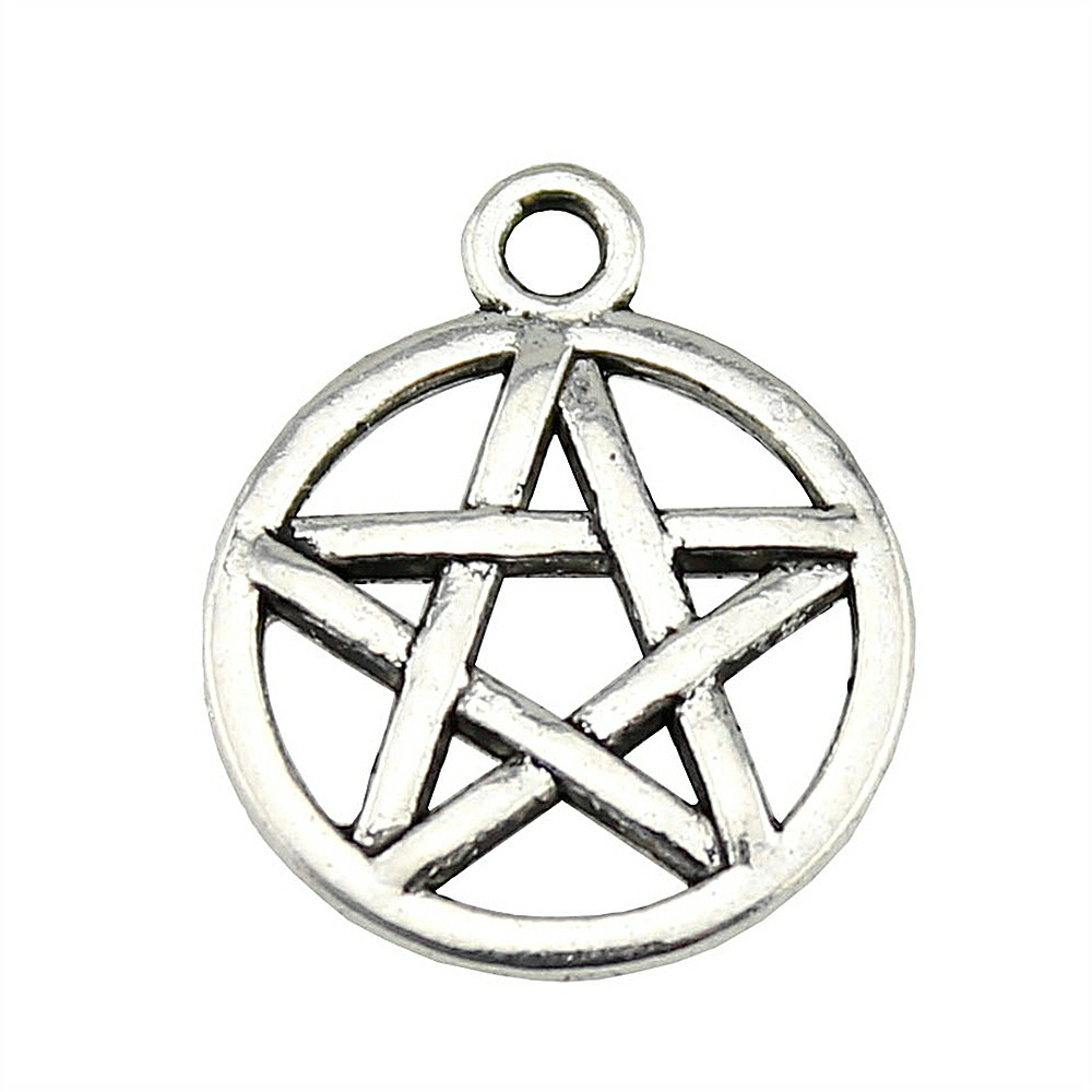 10 Pentagram charms gold plated tone GC77