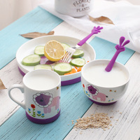 Cute children's cutlery set Baby non slip anti scalding rice bowl meal plate cup mug baby tableware
